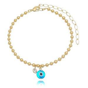 Pulseira Olho Grego Azul e Zircônia no Meio Ouro