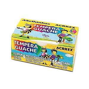 Tempera Guache 15ml  com 6 cores Acrilex