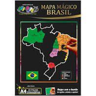 Mapa Mágico Brasil A4 Raspe C/ bastão Off Paper