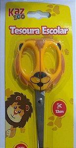 Tesoura Escolar 13 cm zoo  Leao Kaz