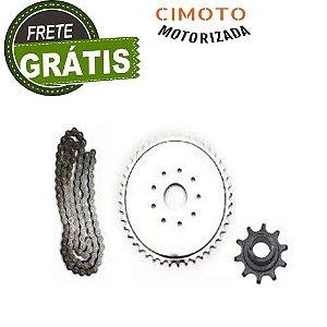 Kit Coroa, Corrente e Pinhão p/ Bicicleta Motorizada 80cc - DX3
