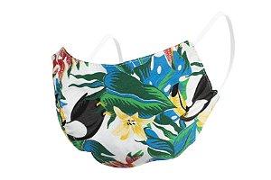 Máscara de Proteção Respiratória Tricoline - Estampa Tucanos Modelo Bico de Pato