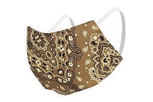 Máscara de Proteção Respiratória Tricoline - Estampa Paisley Modelo Bico de Pato