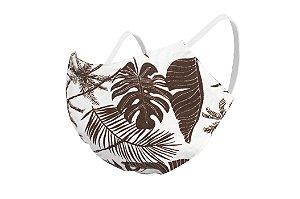 Máscara de Proteção Respiratória Tricoline - Estampa Plantas Marrons Modelo Bico de Pato