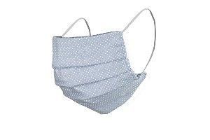 Máscara de Proteção Respiratória Tricoline - Azul com Bolinhas