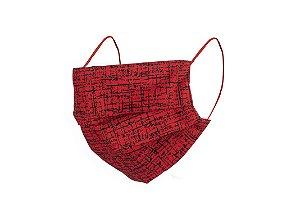 Máscara de Proteção Respiratória Tricoline - Vermelha Riscada