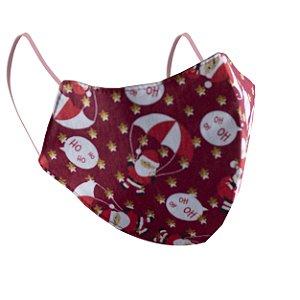 Máscara de Proteção Respiratória Tricoline - Estampa Papai Noel Vermelha Modelo Bico de Pato