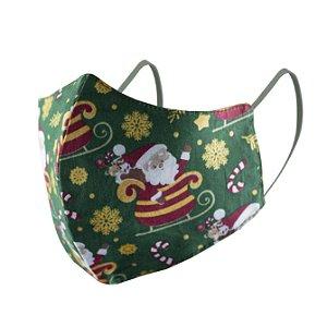 Máscara de Proteção Respiratória Tricoline - Estampa Papai Noel Verde Modelo Bico de Pato