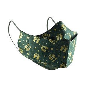 Máscara de Proteção Respiratória Tricoline - Estampa Presentes Verde Modelo 3D