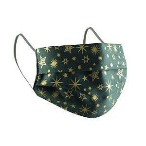 Máscara de Proteção Respiratória Tricoline - Estampa Estrelas Verde