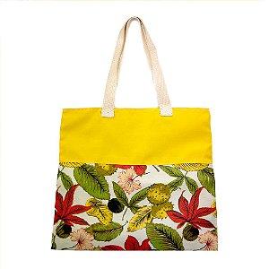 Bolsa Ecobag de Algodão Cru - Flores