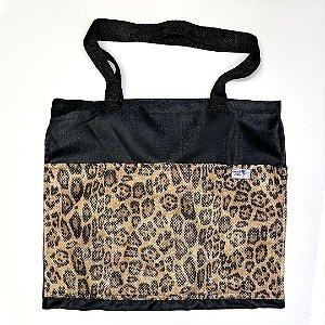 Bolsa Ecobag - Preta Estampa Animal Print