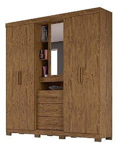 Guarda Roupa Casal MDF 04 Portas Espelho Castanho Wood
