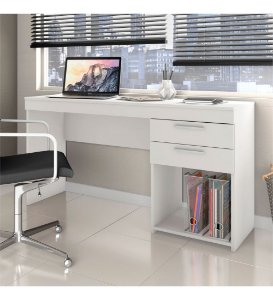 Mesa de Escritório Home Office 02 Gavetas Notável Branco