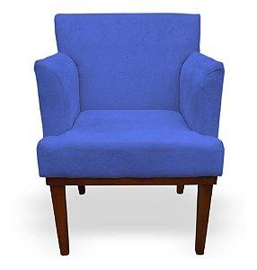 Poltrona Para Sala De Estar Com Pés De Madeira Vitória Azul