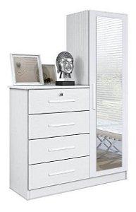 Comoda Branca Para Quarto Com Espelho Incluso Belize Plus X