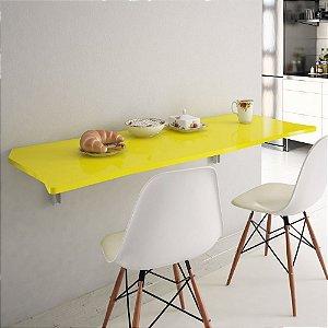 Mesa Dobrável Suspensa Em Mdf 90 Cm Para Cozinha Amarelo
