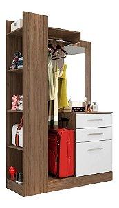 Closet Pequeno 01 Pta 02 Gvts E Espelho Liz Avelã branco