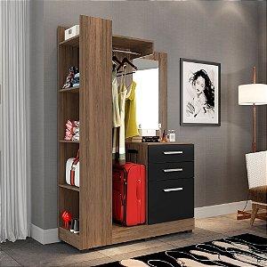 Closet Pequeno 01 Pta 02 Gvts E Espelho Liz Avelã preto