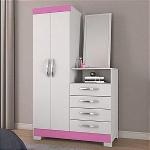Cômoda Para Quarto Com Espelho Nt5040 Branco New rosa