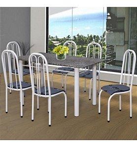 Conjunto De Mesa Com 06 Cadeira E Tampo Em Granito Girassol