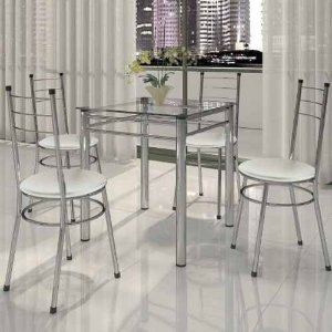 Conjunto Para Cozinha Mesa 04 Cadeiras Tulipa Cromado/branco