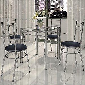 Conjunto Para Cozinha Mesa 04 Cadeiras Tulipa Cromado/preto