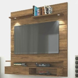 Painel Para TV Com Porta E Luminárias Led Stilo Rustico