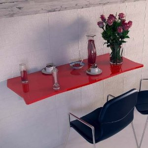 Mesa Dobrável Suspensa Para Cozinha Em Mdf 110cm Vermelho