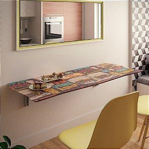 Mesa Dobrável Suspensa Para Cozinha Em Mdf 90 Cm Bar