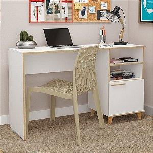 Mesa De Escritório Pés E Bordas Em Pinus Oslo Bc67 Branco