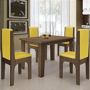 Mesa De Jantar 4 Cadeiras Miami Castanho canário