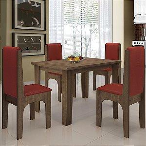 Mesa De Jantar 4 Cadeiras Miami Castanho vermelho