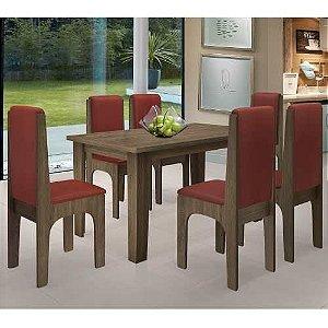Mesa De Jantar 06 Cadeiras Miami Castanho vermelho