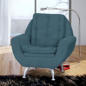 Poltrona Decor P/ Sala C/ Pés De Alumínio Glória Suede Azul