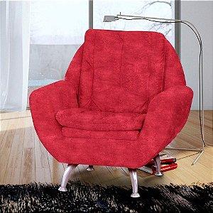 Poltrona Decorativa Para Sala Ou Quarto Glória Suede Vermelh
