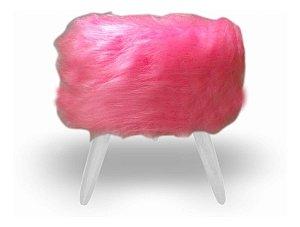 Puff Redondo Pés Palitos Di Casa Pelúcia Alta Rosa branco