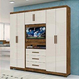 Guarda Roupa Casal Painel Tv 32 Dubai Castanho Baunilha