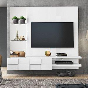 Painel Para Tv 55 Turim 100% Mdf Branco Laca
