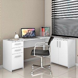 Mesa de Escritório Canto 03 Pts E 02 Gvts Nt2005 Branco New