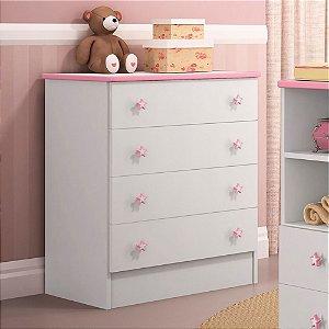 Cômoda Infantil Ou De Bebe Quarto Doce Sonho Branco rosa