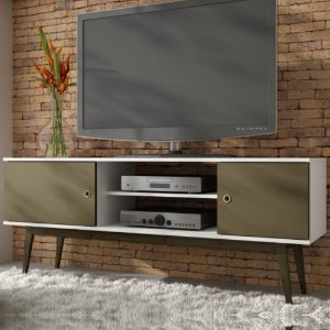 Rack Para Sala Bancada P TV Wood Bpi11 Branco Cacau Carvalho