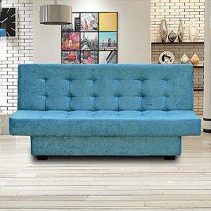 Sofá Cama 3 Lugares Com Molas Laila Suede Azul