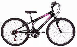 Bicicleta Status Belissima Aro 24″, 18 Marchas- Preta e Rosa