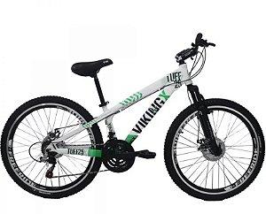 "Bicicleta Vikingx Tuff X-25 Aro 26 "", 18 Marchas –  Branca e Verde"
