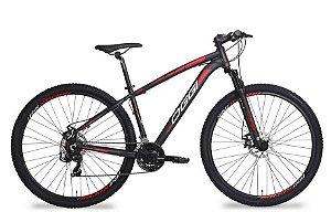 Bicicleta Oggi Hacker Aro 29″, 21 Marchas – Preta e Vermelha