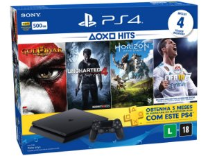 Console PS4 Slim 500GB Hits Bundle 4 Jogos