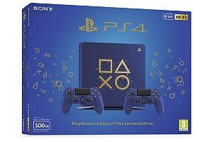 Console Playstation 4 Slim 500GB PS4 Edição Especial Days of Play com 2 controles