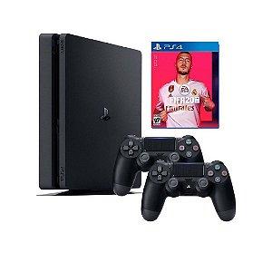 Console PS4 Slim 500GB  -  2 Anos de Garantia - 2 Controles + FIFA 20