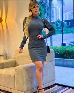 Vestido Canelado Claudia Cinza